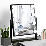 DECLUTTR Hollywood Mirror with Lights Large Lighted Vanity Makeup Mirror Smart Touch Control 3 Colors Dimable Light Detachable 10X Magnification 360°Rotation (Black)
