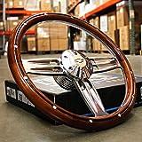 14' Inch Polished & Wood Steering Wheel Chevy Bowtie Horn, 6 Hole C10 Camaro'
