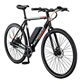 Schwinn Monroe Single-Speed Electric Bike, Featuring 56cm/Medium Aluminum Frame, 250 Watt Hub Drive Motor with Handlebar LED Display, Mechanical Disc Brakes, and 700c/27.5-Inch Wheels, Black
