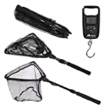 Namu Outdoors Telescopic Fishing Net with Fish Scale - Fishing Accessories - Extends to 37 Inches - Durable Aluminum Alloy Rod with Anti-Sticking Fast Dry Net - Fish Landing Net with Fishing Scale