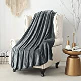 SE SOFTEXLY Fleece Blankets, Soft Warmer Throw Blankets for All Season, Lightweight Microfiber Flannel Blanket Suit for Home Bed, Sofa & Dorm (Grey, 50×60)