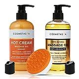 Anti-Cellulite Massage Oil, Gel & Mitt - 100% Natural Cellulite Treatment with Hot Cream Massage Gel, Oil & Massager - Penetrates Skin to Break Down Fat Tissue - Firm, Tone, Tighten & Moisturize Skin