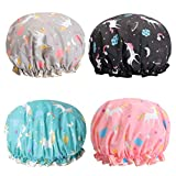 Unicorn Shower Caps, Double Layers Bath Hat for Women to Cover Long and Thick Hair, Reusable Waterproof Bonnet Terry Lined 4 Pack