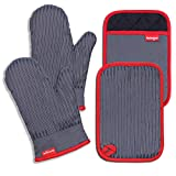 Coziselect Oven Mitts and Pot Holders Set, with Heat Resistance of Silicone, Flexibility of Pure Cotton and Terrycloth Lining, 500 F Heat Resistant, Grey