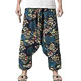 PERDONTOO Men Women Cotton Harem Yoga Baggy Genie Boho Pants (34, Style 3)