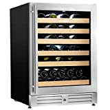 【Upgraded】 Wine Cooler Built-in Multi-Size Bottle, TS-2 series Wine refrigerator, Double-Layer Tempered Glass Door, Stainless Steel, Front Ventilation (24 Inch 51 Bottles)