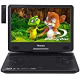 NAVISKAUTO 14' Portable Blu-Ray DVD Player with 1920X1080 HD Large Screen, 4000mAh Rechargeable Battery, Support HDMI in/Out, USB/SD Card Reader, MP4 Video Playback (HDMI Cable Included)