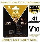 TF Card 32GB Micro SD Plus Adapter. Amplim 32 GB MicroSD Memory Card. (100MB/s 667X V10 A1 Class 10 U1 UHS-I) MicroSDHC Card for Cell Phone, Tablet, Camera, Fire, GoPro, Nintendo, Dashcam, DJI, LG