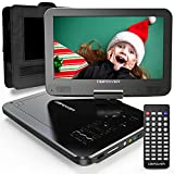 DBPOWER 12' Portable DVD Player with 5-Hour Rechargeable Battery, 10' Swivel Display Screen, SD Card Slot and USB Port, with 1.8 meter Car Charger and Power Adaptor, Region Free- Black
