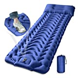 Camping Sleeping Pad, MEETPEAK Extra Thickness 4 Inch Inflatable Sleeping Mat with Pillow Built-in Foot Pump, Compact Ultralight Waterproof Camping Air Mattress for Backpacking, Hiking, Tent