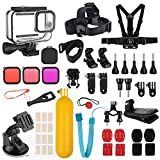 Kupton Accessories Kit Bundle Compatible with GoPro HERO9 Black, Waterproof Housing Case + Dive Filters + Lens Cover + Head Chest Strap + Bike Mount + Floating Grip Accessory Compatible with Hero 9