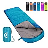 Sleeping Bag 3 Season Warm & Cool Weather - Summer, Spring, Fall, Lightweight,Waterproof Indoor & Outdoor Use for Kids, Teens & Adults for Hiking,Backpacking and Camping (Sky Blue, Single)