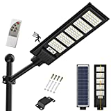 350W Solar Street Light Outdoor, 18000LM Solar Flood Lights Outdoor Dusk to Dawn Motion Sensor, with Remote Control & Pole, Security Solar Outdoor Lights IP66 Waterproof Lamp for Yard Garden Street