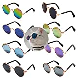 8 Pcs Cute Small Cats Dogs Sunglasses Retro Round Metal Prince Sunglasses Set Funny Cosplay Glasses Toys Photos Props Accessories (8 Pack Mirror Mix)