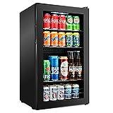 Ivation 126 Can Beverage Refrigerator | Freestanding Ultra Cool Mini Drink Fridge | Beer, Cocktails, Soda, Juice Cooler for Home & Office | Reversible Glass Door & Adjustable Shelving - Black