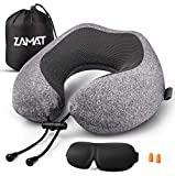 ZAMAT Memory Foam Travel Pillow, 360°Support Neck Pillow for Airplane Travel, Adjustable Compact Comfort with Earphone, Breathable & Washable Case, 3D Eye Masks, Earplugs & Carring Bag (Dark Gray)