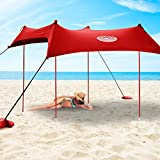 UMARDOO Family Beach Sunshade with 4 Sand Anchors,4 Aluminum Poles & Carring Bag,UPF 50+ (Red, 7x7 ft)