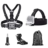 TEKCAM Action Camera Head Strap Chest Harness Belt Mount with Carrying Pouch Compatible with Gopro Hero 8 7 6/AKASO EK7000 Brave 4 V50/Crosstour 4k/Campark/DBPOWER/Dragon Touch Waterproof Camera