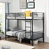 Metal Bunk Bed Twin Over Twin, Heavy Duty Metal Bunk Bed Frame with Safety Rail and Climbing Ladder Ladders for Kids Teens Adults,Black