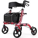 RINKMO Rollator Walkers for Seniors- Rollator Walker with Seat 8' Wheels- Easy Folding Senior Walker with Padded Backrest- Lightweight Mobility Walking Aid for Adult Elderly, Aluminum Frame, Red