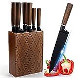 Knife Set,7 Pieces Kitchen Knife Set with Block, AMOTA TIO Japanese Stainless Steel Knife Set with Block, Chef Knife, Professional Kitchen Knife, Full-Tang Steak Knives Black