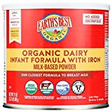 Earth's Best Organic Baby Formula, Dairy Based Powder Infant Formula with Iron, Non-GMO, Omega-3 DHA and Omega-6 ARA, 21 oz