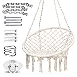 Ohuhu Hammock Chair Hanging Chair Swing with Heavy Duty Hanging Hardware Kit, Indoor Macrame Swing Chairs 100% Cotton Rope for Bedrooms Balcony, Christmas Idea Gifts for Girls (Cushion Not Included)