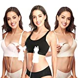 Lupantte 1 Puming Bra + 2 Nursing Bras 3Pack Set. Hands Free Breast Pump Bra. Breastfeeding Bras with One-Step Clip. Adjustable Breastfeeding Bra for Pumping. Fit Most Breast Pumps (X-Large) Black