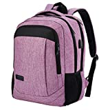 Monsdle Travel Laptop Backpack Anti Theft Water Resistant Backpacks School Computer Bookbag with USB Charging Port for Men Women College Students Fits 15.6 Inch Laptop (Purple)