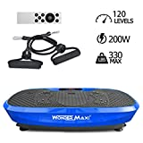 3D Vibration Platform Exercise Machine, Dual Motor Oscillation Whole Body Vibration Fitness Plate with Remote Control and Resistance Bands for Weight Loss Toning(Blue)