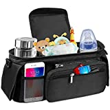 Baby Stroller Organizer Bag - Stroller Storage Bag with 2 XL Waterproof Leak-Proof Insulated Cup Holders and Large Detachable Zippered Clutch Bag for Universal Stroller Like Baby Jogger,Bugaboo