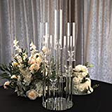 Efavormart 33' Tall - 7 Arms Clear Crystal Cluster Round Candelabra, Pillar Candle Holders with Mirror Base - Perfect for Birthdays, Weddings, Table Decoration, Event Decoration, and Centerpieces