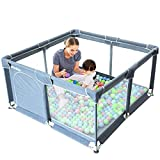 Extra Large Playard Baby Play Center Sturdy Square Fence with Breathable Mesh Storage Safety Play Yard Home Indoor & Outdoor for Children Toddlers