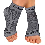 TechWare Pro Ankle Brace Compression Sleeve - Relieves Achilles Tendonitis, Joint Pain. Plantar Fasciitis Foot Sock with Arch Support Reduces Swelling & Heel Spur Pain. (Gray, L / XL)