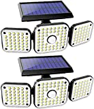 Solar Lights Outdoor, 112 LED 1500LM Motion Sensor Lights with 3 Adjustable Heads Security LED Flood Lights, IP65 Waterproof, 270° Wide Angle Illumination Wall Lights with 3 Modes (2 Packs)
