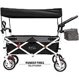 Creative Outdoor Distributor Push Pull Wagon for Kids, Foldable with Sun/Rain (Black)