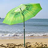 AMMSUN 6ft Portable Beach Umbrella UV Protection Sun Shade Shelter Kiwi Fruit Design with Tilt Fabric Carry Bag Green