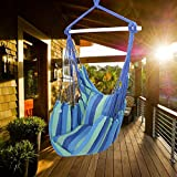 ONCLOUD Hanging Rope Hammock Chair Swing Seat for Yard, Bedroom, Patio, Porch, Indoor/Outdoor - 2 Seat Cushions Included (Blue)