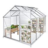 Green House for Plants Outdoor, 6 x 8 x 7 FT Walk-in Polycarbonate Greenhouse Kit, Large Hot House Greenhouses w/Sliding Door and Ventilation Window for Winter (Slivery, 6 x 8 x 7 FT)