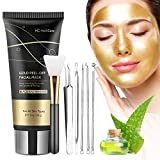 Blackhead Remover Mask, Gold Peel Off Face Mask, Gold Facial Mask Anti-Aging, Deep Cleansing, Reduces Fine Lines & Wrinkles Great for All Skin, With Blackhead Remover Extractor Tools Kit & Mask Brush