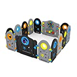 Baby Safety Playpen: Safe Zone Playpen Gray Black Baby Playpen - Kids Activity Center Playard, - Safe Play Yard Play Pen with Games & Door for Infants (Gray & Black, 14 Panels)
