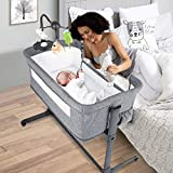 BANIROMAY 4 in 1 Baby Bassinet Bedside Sleeper, Baby Co Sleeper Gaming Bed, Adjustable Portable Newborn Girls Boys Baby Crib with Mattress, Breathable Mesh (4 in 1)