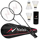 nalax Badminton Set, 2 Player Badminton Rackets Professional Graphite High-Grade Badminton Racquet with 3 Shuttlecocks and 1 Carrying Bag for Backyard Games Suitable for Amateurs and Professionals