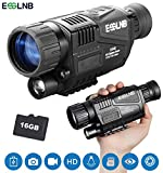 "ESSLNB Night Vision Monocular 5X40 Night Vision Infrared IR Camera HD Digital Night Vision Scopes with 1.5"" TFT LCD Take Photos and Video Playback Function 16G TF Card for Hunting Security Surveilla"