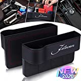 Jeteven 2 Packs PU Leather Car Organizer Front Seat Filler, Multifunctional Storage, Document Glove Coin Laptop Cellphone Wallet Cup Cards Holder, Console Side Pocket Caddy Bucket Basket