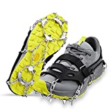 LOPOO Crampons Traction Cleats Ice Snow Grips with 19 Spikes System Safe Protect for Walking, Ice Fishing, Climbing and Hiking on Snow and Ice(Small)