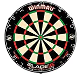 Winmau Blade 5 Dual Core Bristle Dartboard with Increased Scoring Area and Improved Dart Deflection for Reduced Bounce-Outs , BLACK WHITE RED, 1.50 x 17.75 x 17.75 inches