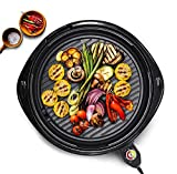 Elite Cuisine Elite Gourmet EMG-980B Large Indoor Electric Round Nonstick Grill Cool Touch Fast Heat Up Ideal Low-Fat Meals Dishwasher Safe Includes Glass Lid, Black, 14'