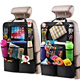 Helteko Backseat Car Organizer - Kick Mats Back Seat Protector with 10' Tablet Holder - Car Back Seat Organizer for Kids - Car Travel Accessories - Kick Mat with 8 Storage Pockets (2 Pack)