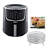 GoWISE USA GW22956 7-Quart Electric Air Fryer with Dehydrator & 3 Stackable Racks, Led Digital Touchscreen with 8 Functions + Recipes, 7.0-Qt, Black/Silver